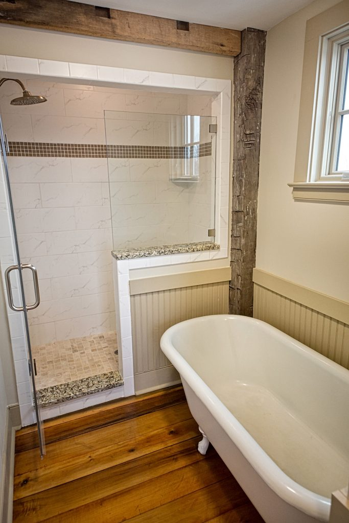 Bathroom with nice bathtub and shower area