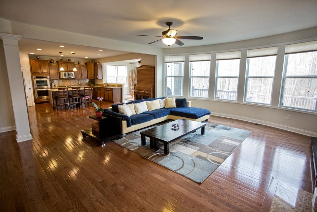 Living room with kitchen view