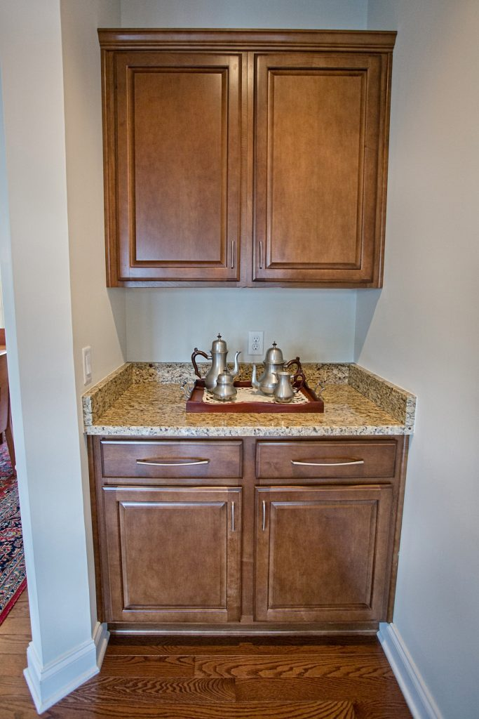 Granite countertops with wood cabinets