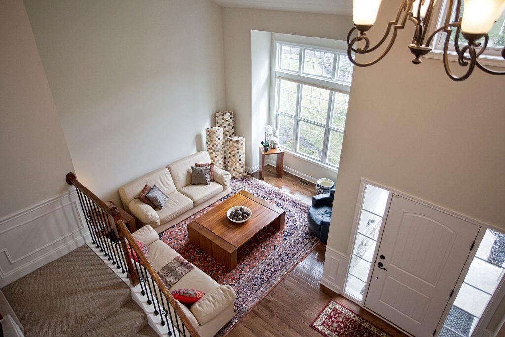 Aerial shot of living room