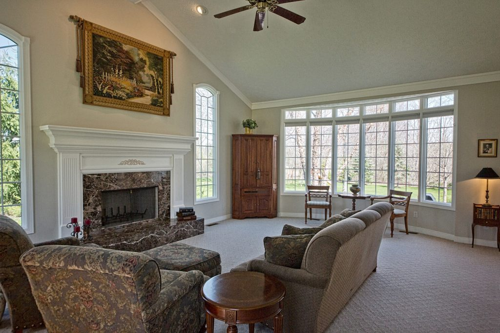 Living room with fireplace and framed painting