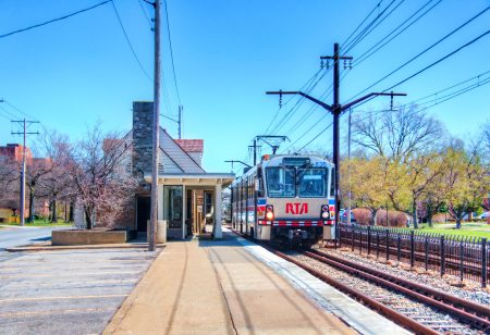 train in Shaker Heights in Ohio