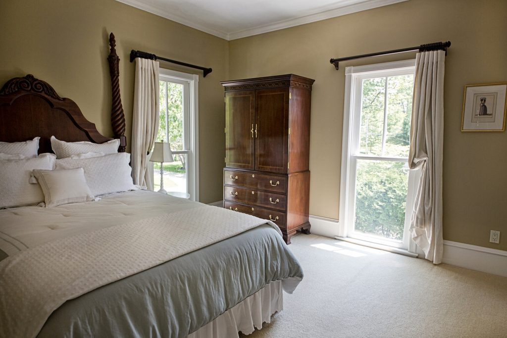 Bedroom with wooden cabinet