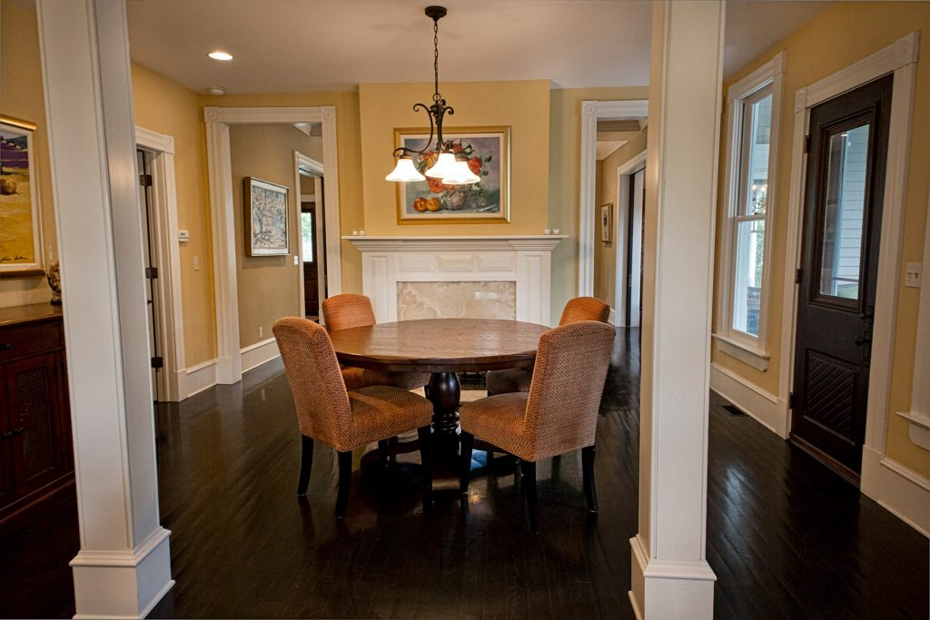 Dining room with wall painting
