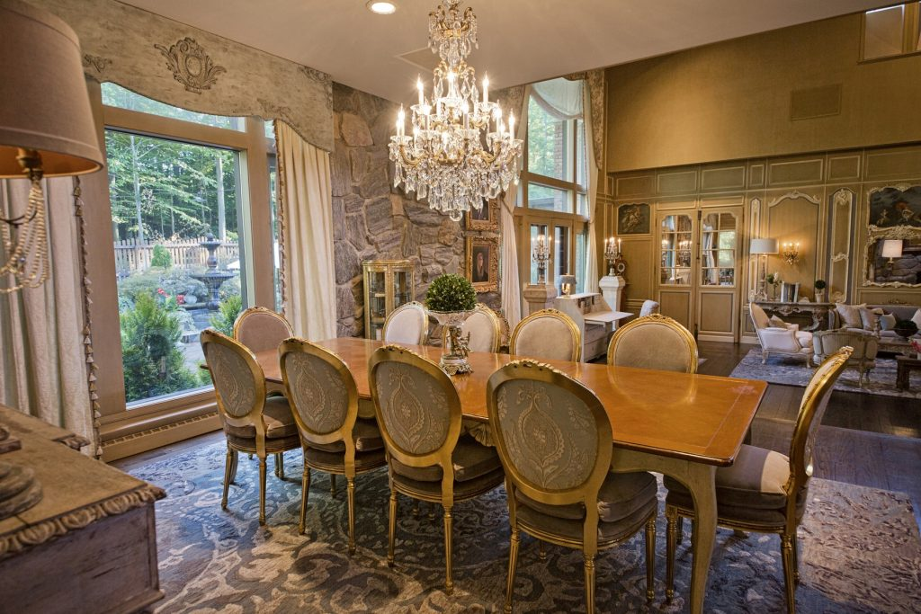 Dining room with elegant chandelier