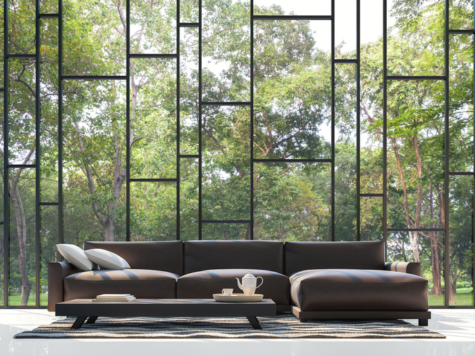 Modern living room with garden view