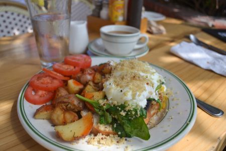 Healthy Gourmet Breakfast Brunch in an outdoor cafe