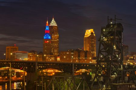 Downtown Cleveland Ohio glows in early evening from a vantage point on the near west side