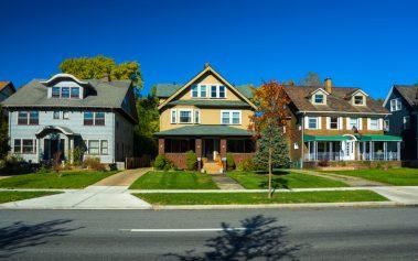 Three houses in a Cleveland, Ohio neighborhood.