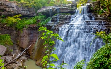 Brandywine Falls in Cuyahoga Valley National Park in central Ohio near Cleveland in the late summer of 2009