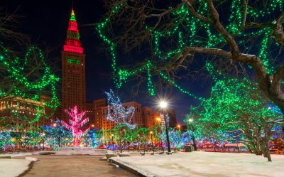 The Terminal Tower and Public Square in Cleveland Ohio colorfully lit up for Christmas