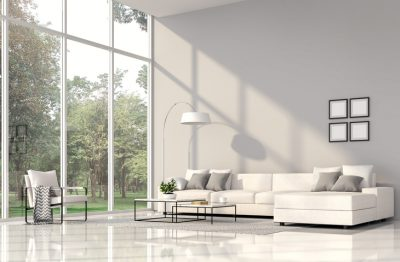 Modern living room interior with nature view 3d render