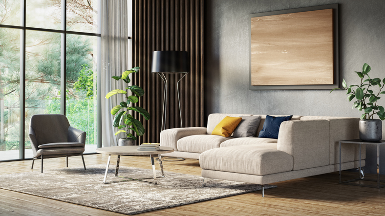 Modern scandinavian living room interior - 3d render